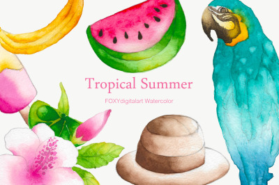 Watercolor tropical summer holiday travel