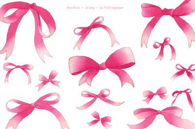 Red ribbon pink bows watercolor christmas holiday