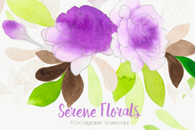 Watercolor flowers wedding rose clipart