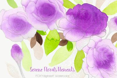 Watercolor flowers rose purple wedding