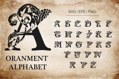 Ornamental Alphabet Character set. Initials and alphabet.