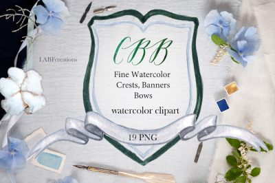 Crests, banners & bows. Watercolor clipart.
