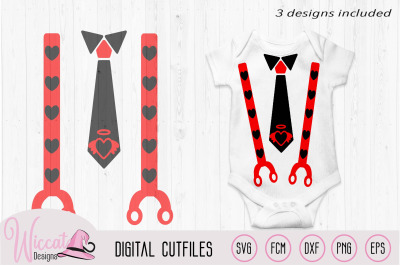 Valentine Baby tie and suspender svg
