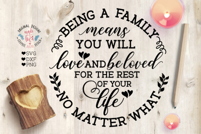 Being A Family Means - Cut File in SVG, DXF and PNG