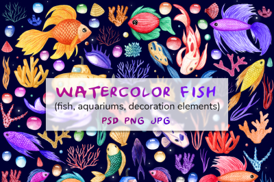 Watercolor fish. Big set + aquarium mock-up