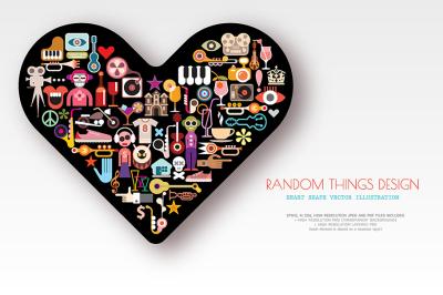 Random Things Design heart shape vector artwork