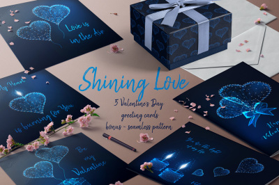 Shining Love. Valentine Day greeting cards.