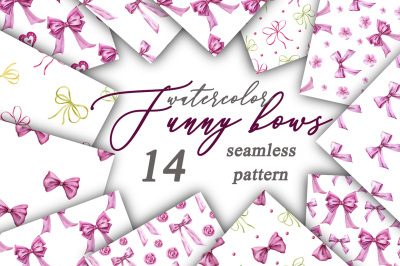 Funny bows. Watercolor seamless pattern.