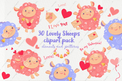Cute Lovely Sheeps Valentine day clipart and papers