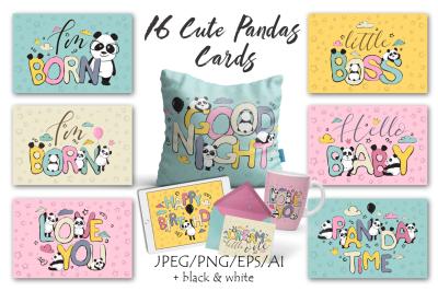 Panda bears cute cards