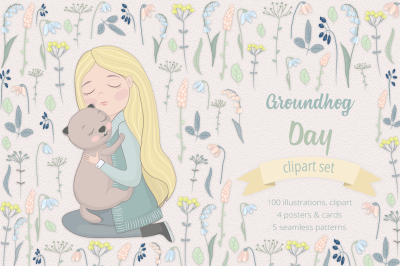 Groundhog Day Illustration Set
