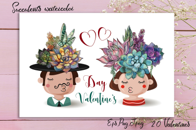 Valentine's Day digital greeting cards. Love clipart. Watercolor