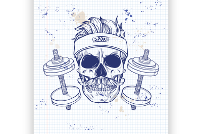 Hand drawn sketch, angry sport skull