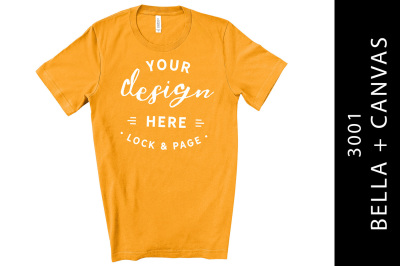 Mens Burnt Orange Bella Canvas T-Shirt Mockup White Backdrop