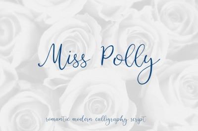 Miss Polly, romantic modern calligraphy script
