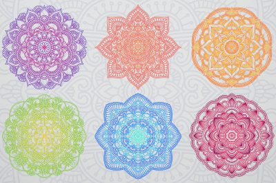 6 Various Colored Mandalas