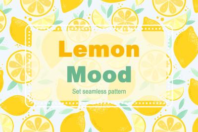 Lemon Mood. Set seamless pattern