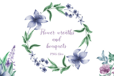 Floral wreaths and  bouquets