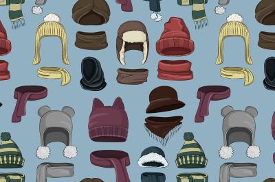 Winter or autumn headwear collection pattern