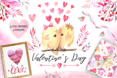 Watercolor Valentine's Day Set