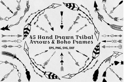 45 hand drawn tribal arrows and boho frames.