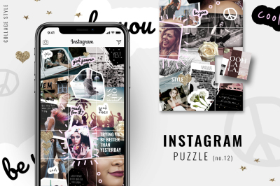 Instagram PUZZLE template - Collage