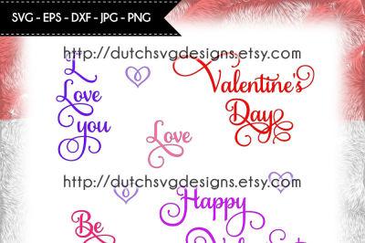 5 Valentine texts, love svg, valentine svg, valentine text svg