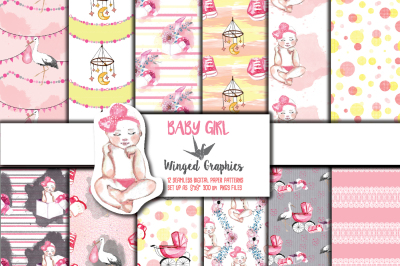 Baby Girl: seamless, tileable, patterns