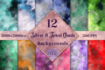 Silver and Jewel Colour Clouds Backgrounds - 12 Image Set