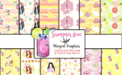 Summer Love: 12 seamless patterns