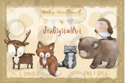 Baby Woodland | 5 animal illustrations | PNG&2F;JPEG clip art