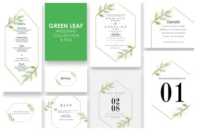 Green Leaf Wedding Invitation Set