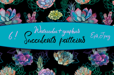 Watercolor patterns with succulents.
