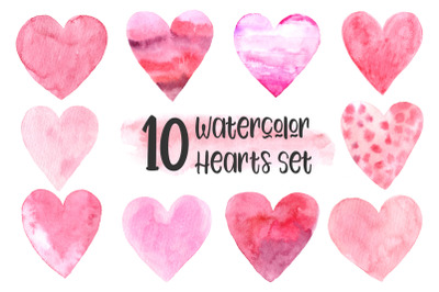 10 Watercolor Hearts Set