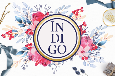 Indigo Watercolor Flowers Clip Art Set