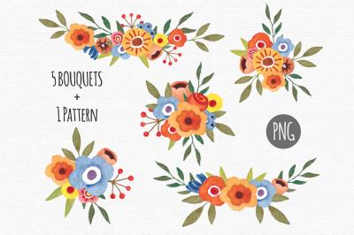 Floral bouquets clipart Watercolor
