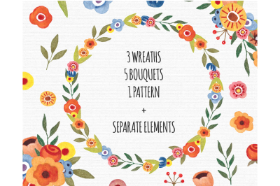 Watercolor Floral Clipart PNG Flowers