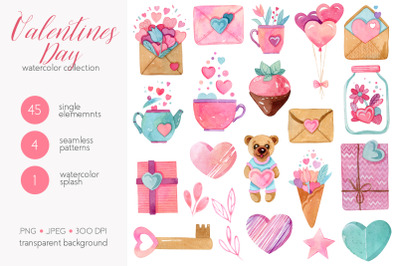 Watercolor Valentines Day Collection