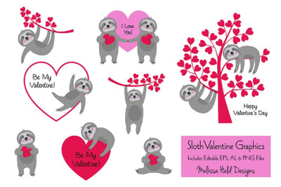 Sloth Valentine Graphics