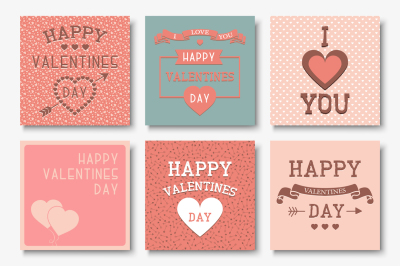 Set of beautiful Valentine Day cards