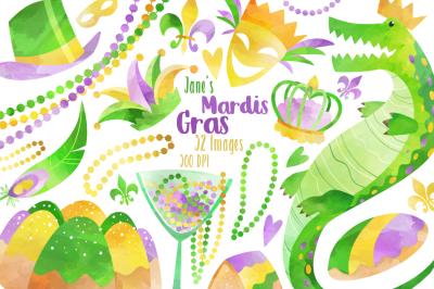 Watercolor Mardi Gras Clipart
