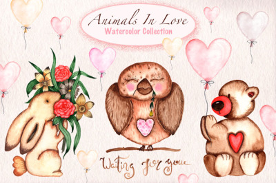 Animals In Love Wattercolor Collection
