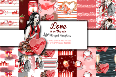 Love is in the air: 12 valentine's day seamless patterns