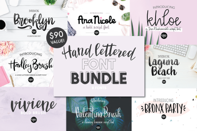 70% off Hand Lettered Font Bundle