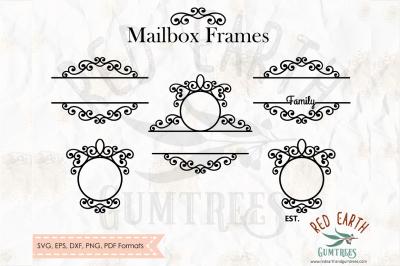 Mailbox swirly frames, split monogram frame SVG,DXF,PNG,EPS,PDF format