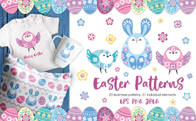 Easter patterns and clip arts.