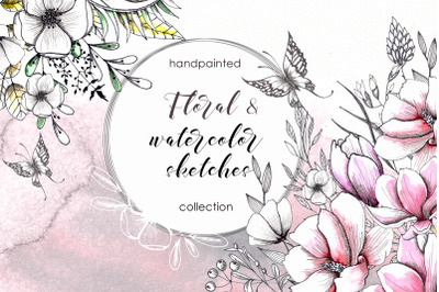 Floral watercolor and sketches wedding handpainted collection