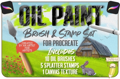 Oil Paint Brush & Stamp Set - for Procreate