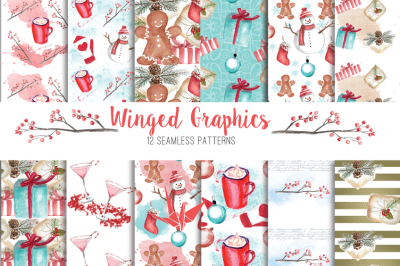 Christmas and winter wonderland: 12 seamless digital paper/patterns