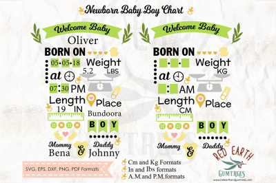 Baby boy announcement chart template SVG,DXF,PNG,EPS,PDF